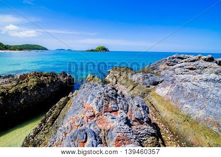 Beautiful islands in Thailand. snorkeling paradise with clear sea water and stones beach