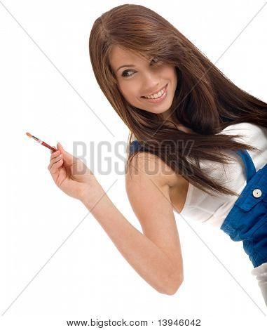 Постер, плакат: красивая девушка живопись на воздухе, холст на подрамнике