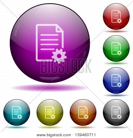 Set of color Document setup glass sphere buttons with shadows.