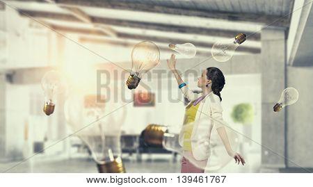 Girl in office interior  .  Mixed media