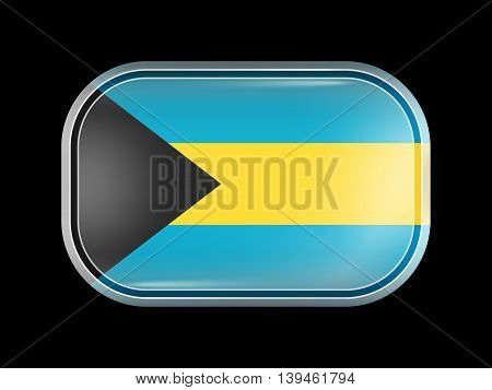 Flag Of Bahamas. Rectangular Shape With Rounded Corners