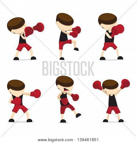 Vector : red boxing cartoon sports design .