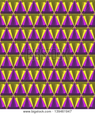 3D Crystal Cone Pattern Yellow And Purple