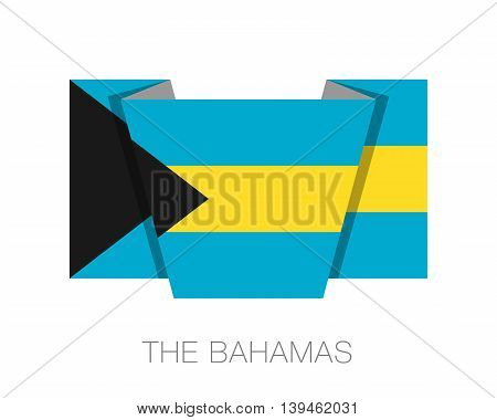 Flag Of Bahamas. Flat Icon Wavering Flag With Country Name