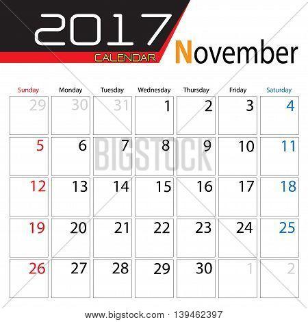 Calendar 2017 November month on white background vector illustration.