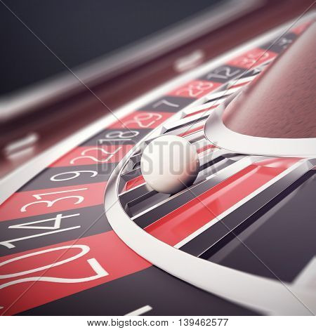 Playing casino roulette, concept casino gambling, wheel of fortune, 3d illustration