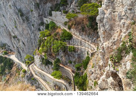 Old Empty Winding Mountain Road On Capri