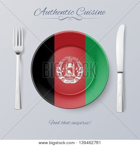 Authentic Cuisine of Afghanistan. Plate with Afghan Flag and Cutlery