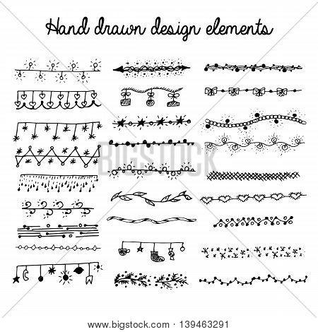 Hand drawn set of line frames. Sketch elements of ornaments for banner design. Vector illustration