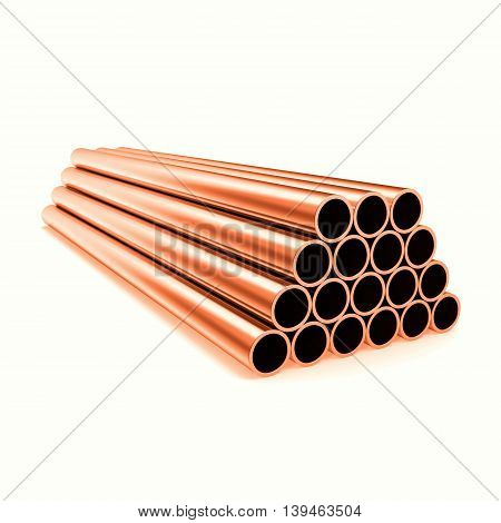 Copper round pipes, industrial background, isolated on white background, 3d illustration