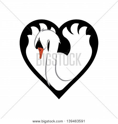 Swan in a heart shape as a graceful symbol of beauty and love
