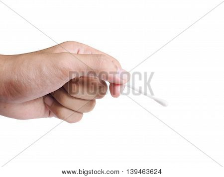 Human hand holding white cotton buds isolated on white background