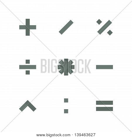 Set paper symbols basic mathematical operations isolated on white background vector illustration.