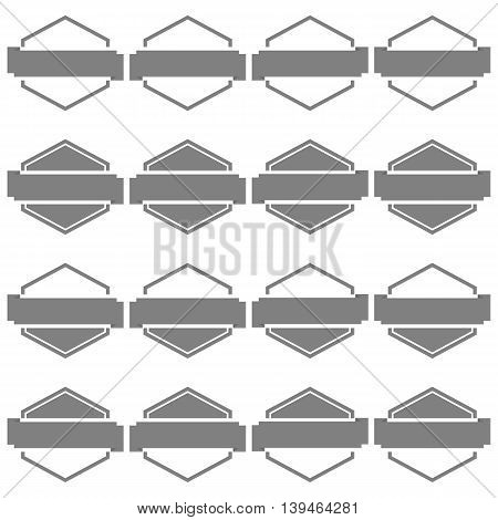 Set of sixteen gray hexagonal emblem with ribbons isolated on white background in retro style third set vector illustration.