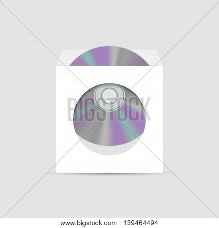 White realistic envelope with a window to the CD inside isolated on white background vector illustration.