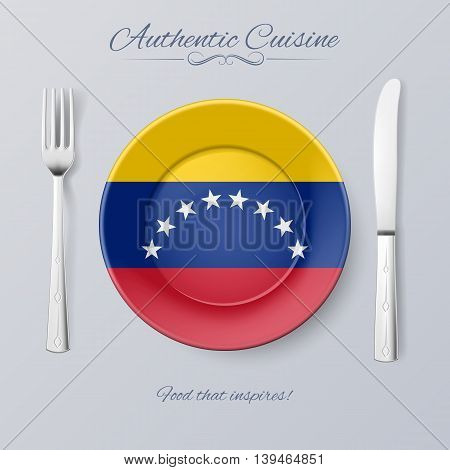 Authentic Cuisine of Venezuela. Plate with Venezuelan Flag and Cutlery
