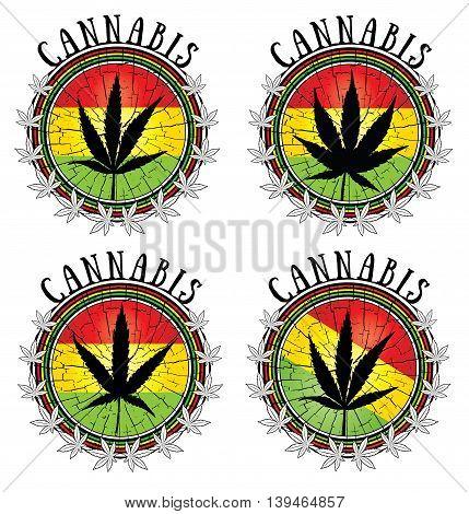 Set of cannabis leaf symbol jamaican flag background