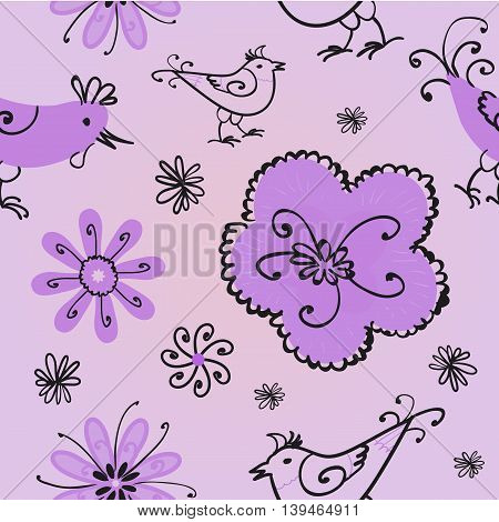 Spring seamless pattern with doodles. Vector illustration.