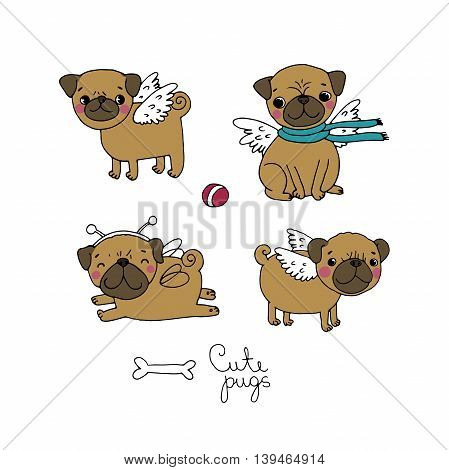 Cute little Pugs. Dogs. Hand drawing isolated objects on white background. Vector illustration.