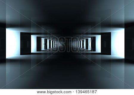 A modern hallway interior. A 3d illustration.