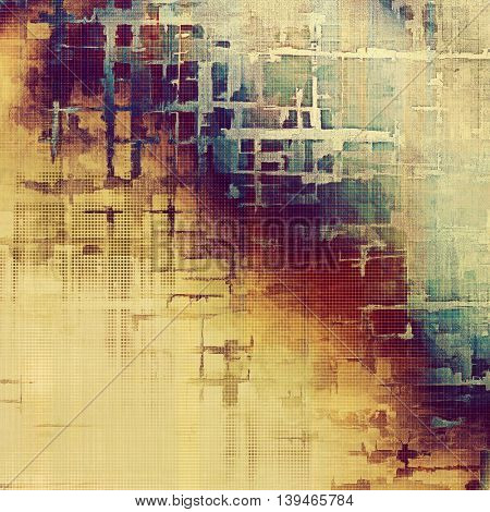 Old-style dirty background with textured vintage elements and different color patterns: yellow (beige); brown; blue; red (orange); purple (violet); pink