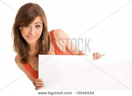 Beautiful sexy girl holding empty white board