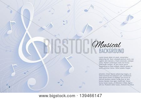 Paper background with music notes. Vector illustration.