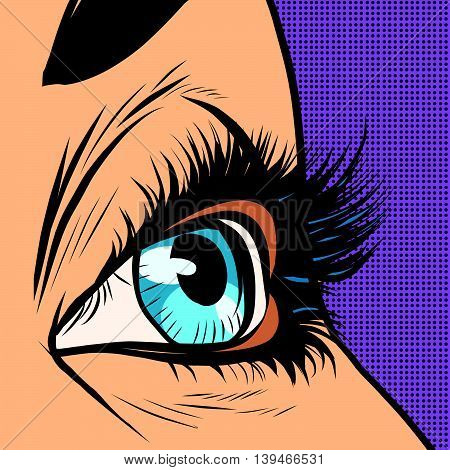 Close-up blue woman eye looks to right pop art retro vector illustration