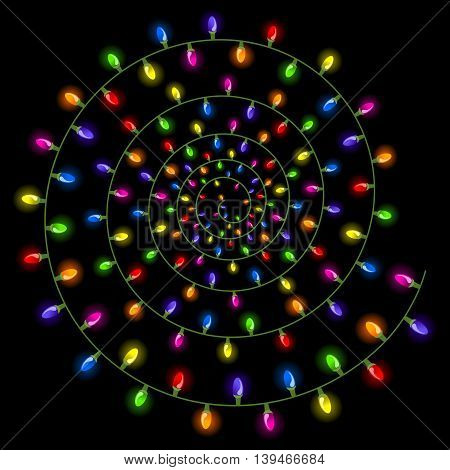 Spiral Christmas lights isolated on a black background