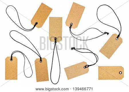 Cardboard price tags or sales label on white background
