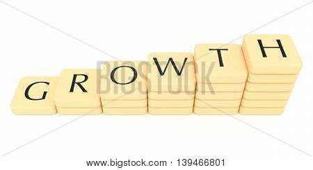 Stairs of letter tiles: growth 3d illustration