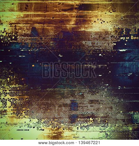Old, grunge background or damaged texture in retro style. With different color patterns: yellow (beige); brown; black; green; blue; purple (violet)