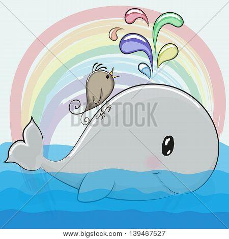 Cute cartoon whale and a bird on a rainbow background