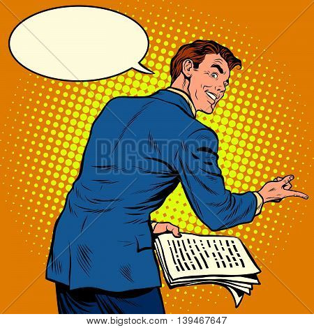 the speaker with text to speech pop art retro vector illustration. Public speaking. business training or political oratory