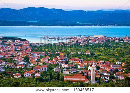 Adriatic town of Murter bay aerial view Dalmatia Croatia