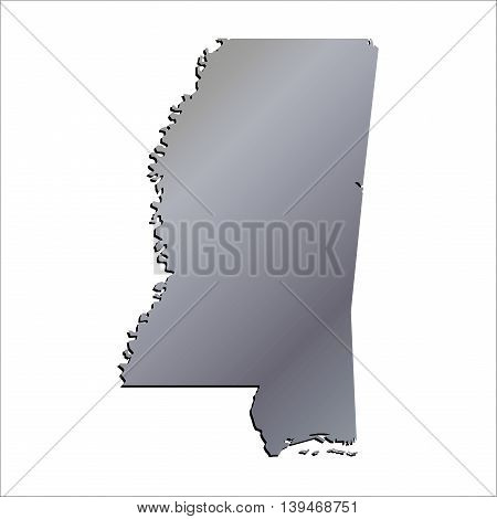 3D Mississippi (USA) Aluminium outline map with shadow