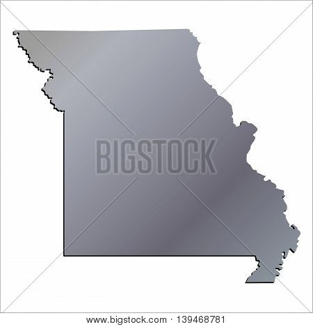 3D Missouri (USA) Aluminium outline map with shadow