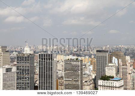 Skyline of Sao Paulo Brazil. Digital photo.
