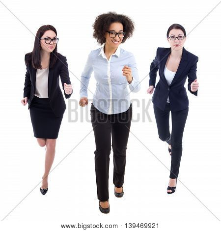 Front View Of Running Business Women Isolated On White