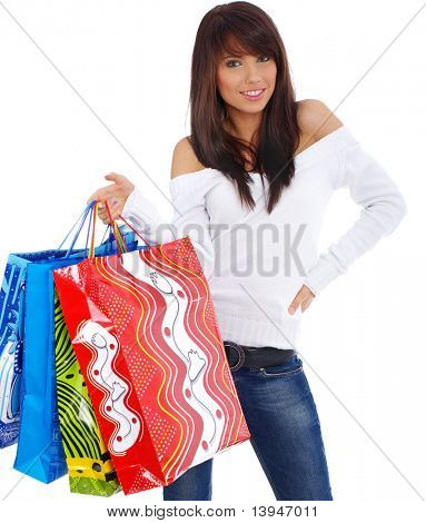 woman standing with shopping bags isolated over a white background