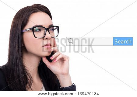 Internet Concept - Thinking Woman And Search Bar Isolated On White