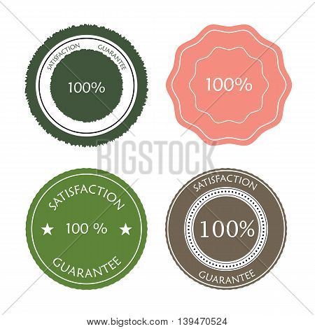 Set of  satisfaction guarantee icons in pastel colors