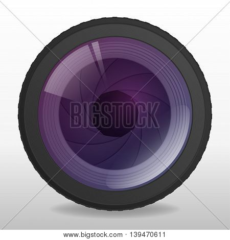 Photo camera lense. Realistic lens with shutter apperture. Vector illustration