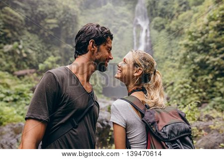 Affectionate Young Couple Together On Hike.