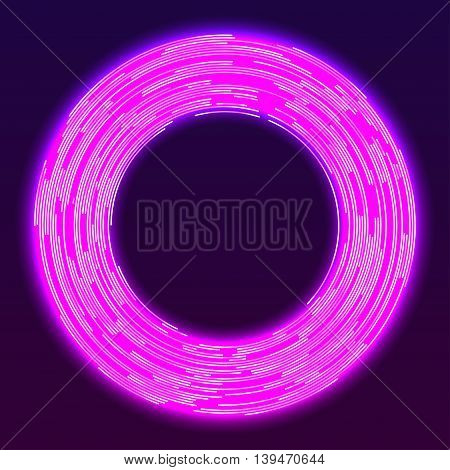 Glowing pink neon ring. Electric round frame. Abstract vector background
