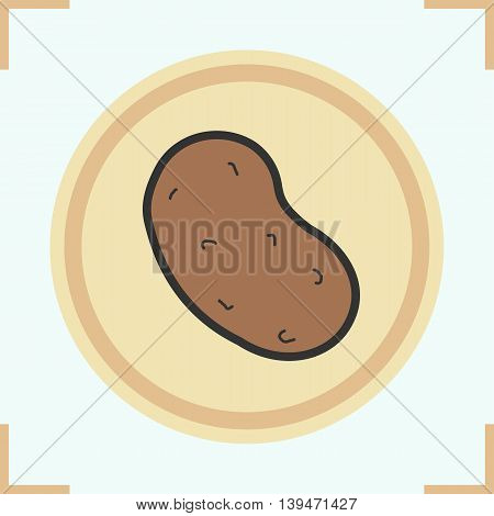 Potato color icon. Tuber. Potatoe on wooden plate. Vector isolated illustration