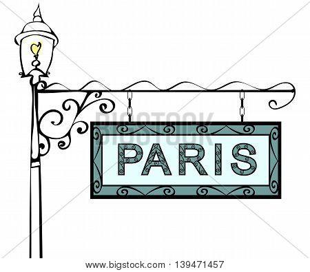 Paris retro vintage pointer lamppost. Paris Capital France travel tourism.