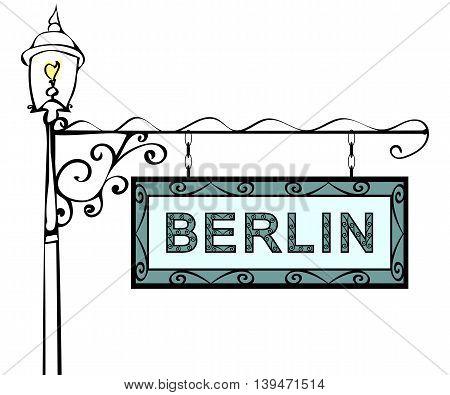 Berlin retro vintage pointer lamppost. Berlin Capital Germany travel tourism.
