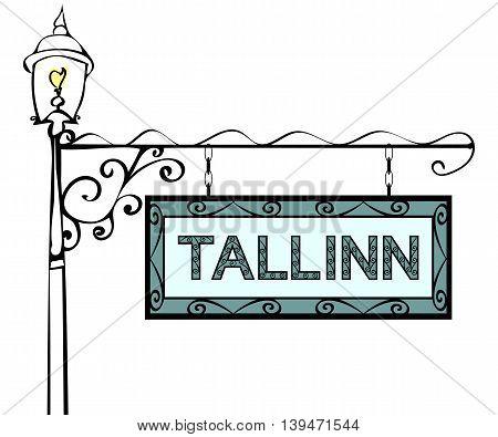 Tallinn retro vintage pointer lamppost. Tallinn Capital Estonia travel tourism.
