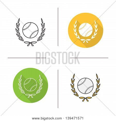Baseball ball in laurel wreath icon. Flat design, linear and color styles. Softball championship symbol. Isolated vector illustrations